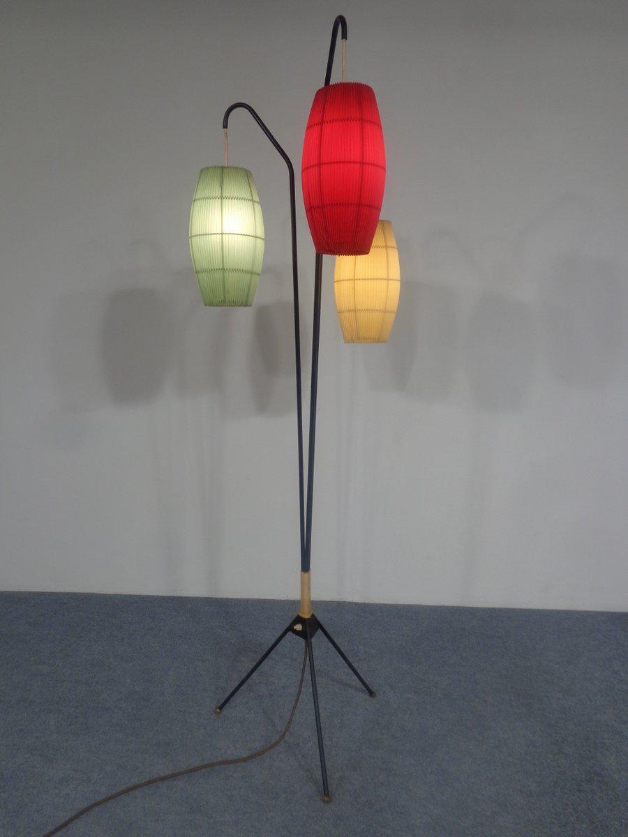 Dreibein Stehlampe mit Drei Leuchten, 1950er