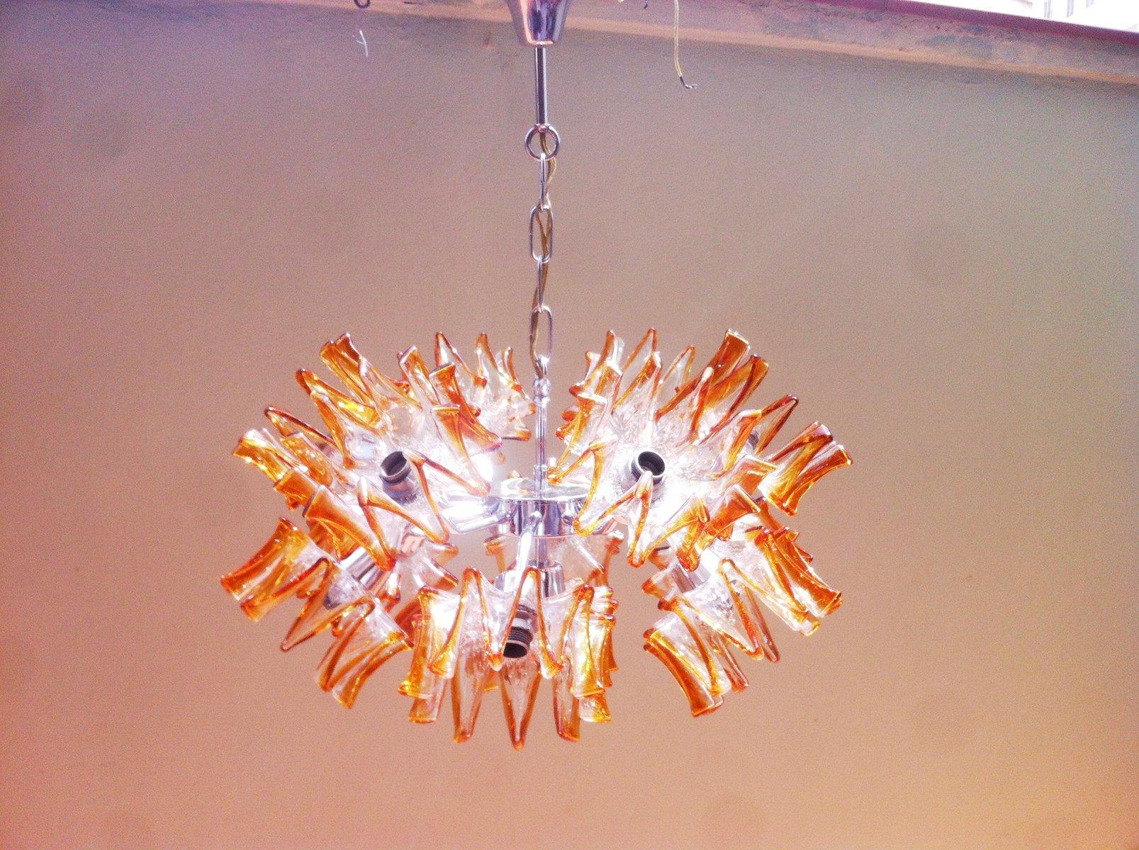 Floraler Mid-Century Sputnik Kronleuchter aus Murano Glas von Mazzega,...