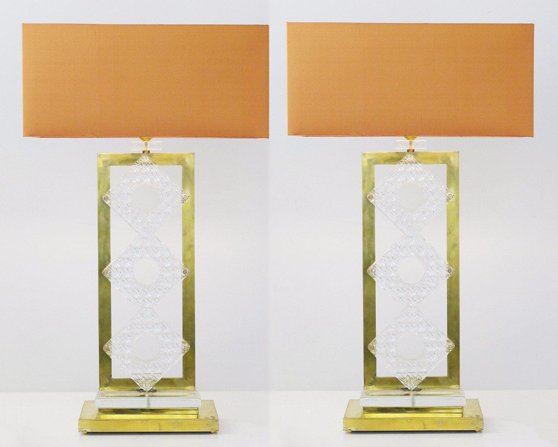 Italienische Vintage Tischlampen aus Messing & Glas, 2er Set
