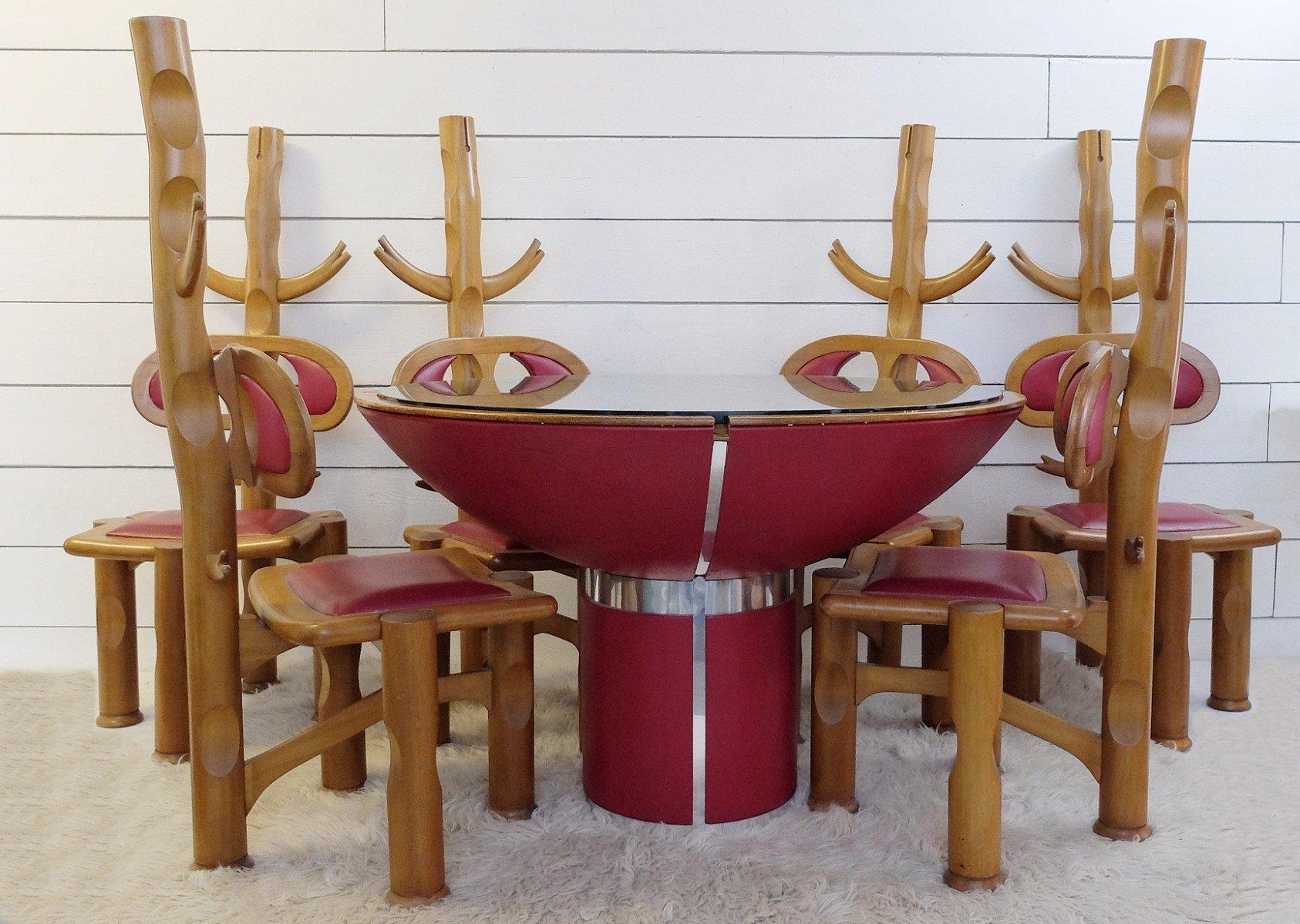 Tavolo da pranzo con 6 sedie vintage, Brasile in vendita su Pamono