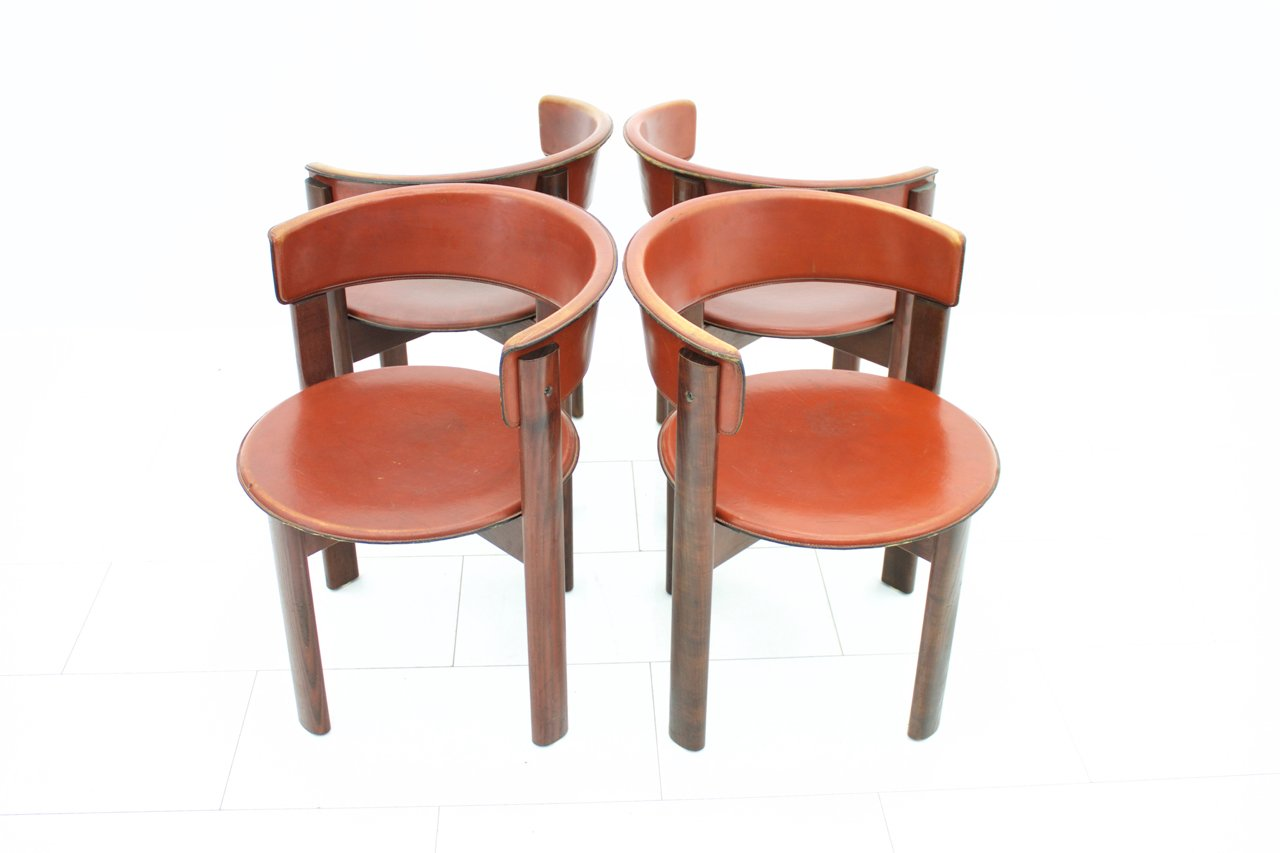 Vintage Italian Leather & Walnut Dining Room Chairs by ...