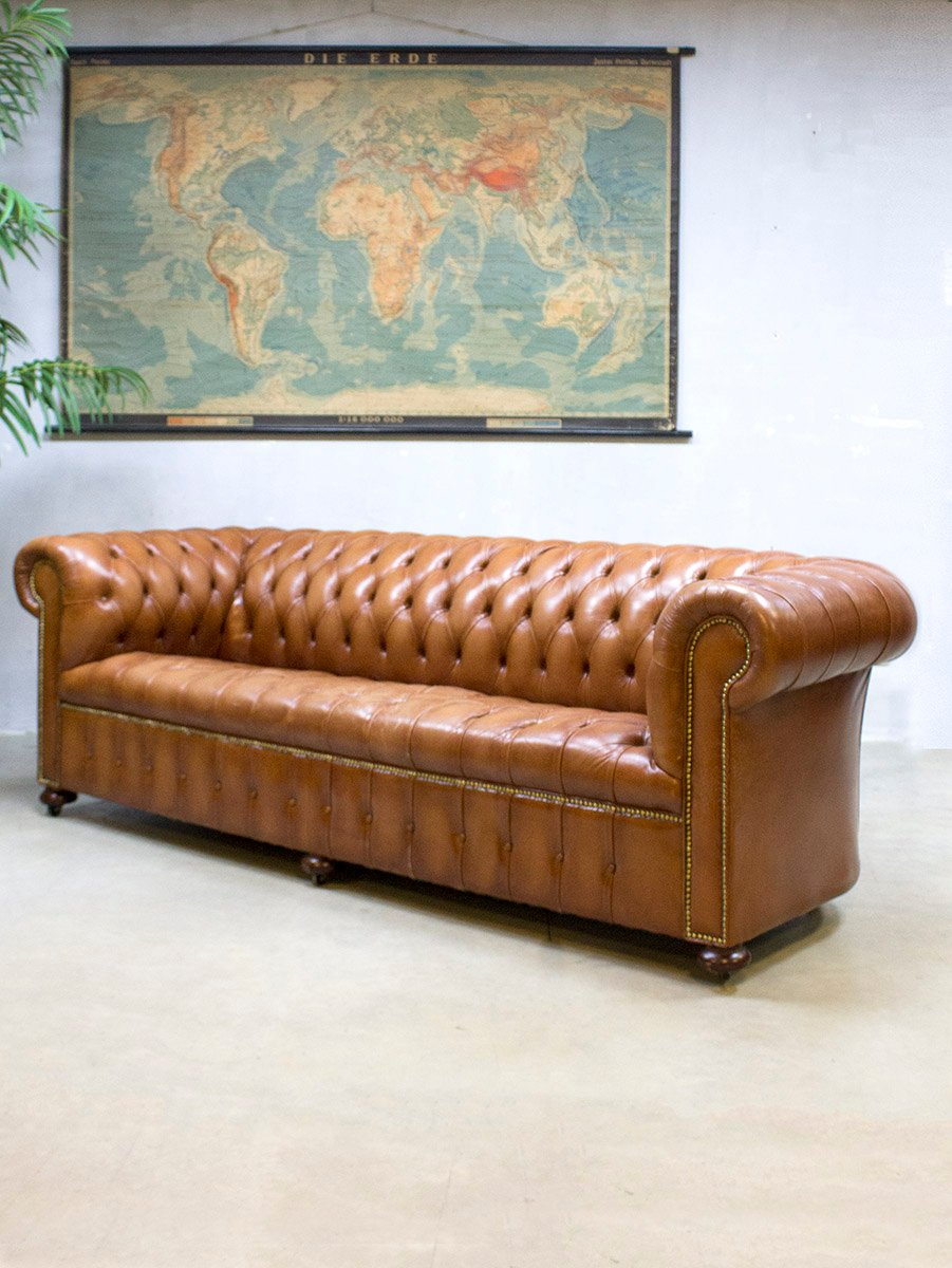 Vintage Leder Chesterfield Sofa bei Pamono kaufen
