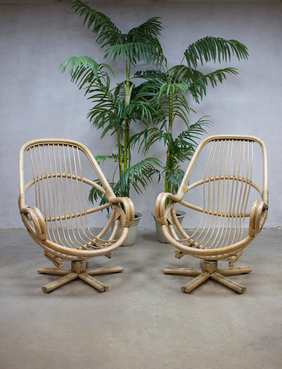 Vintage Bamboo Swivel Chair, 1960s