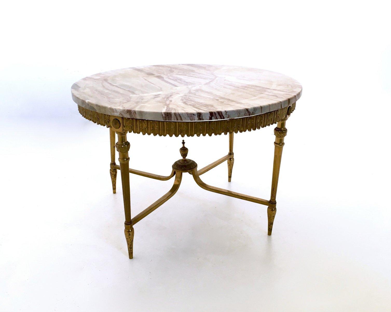 table basse en marbre et laiton italie 1950s en vente sur pamono. Black Bedroom Furniture Sets. Home Design Ideas