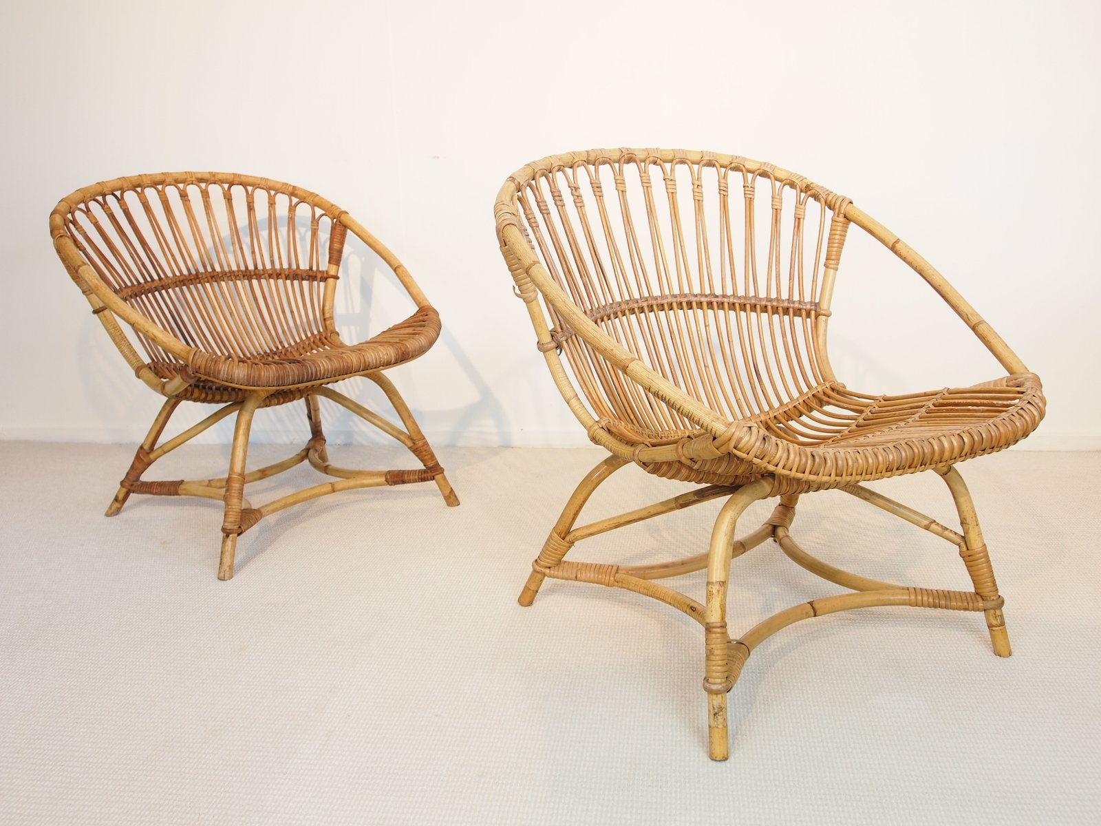 Mid Century Dutch Rattan Lounge Chairs By Dirk Van Sliedregt For Gebroeders  Jonker, 1949, Set Of 2