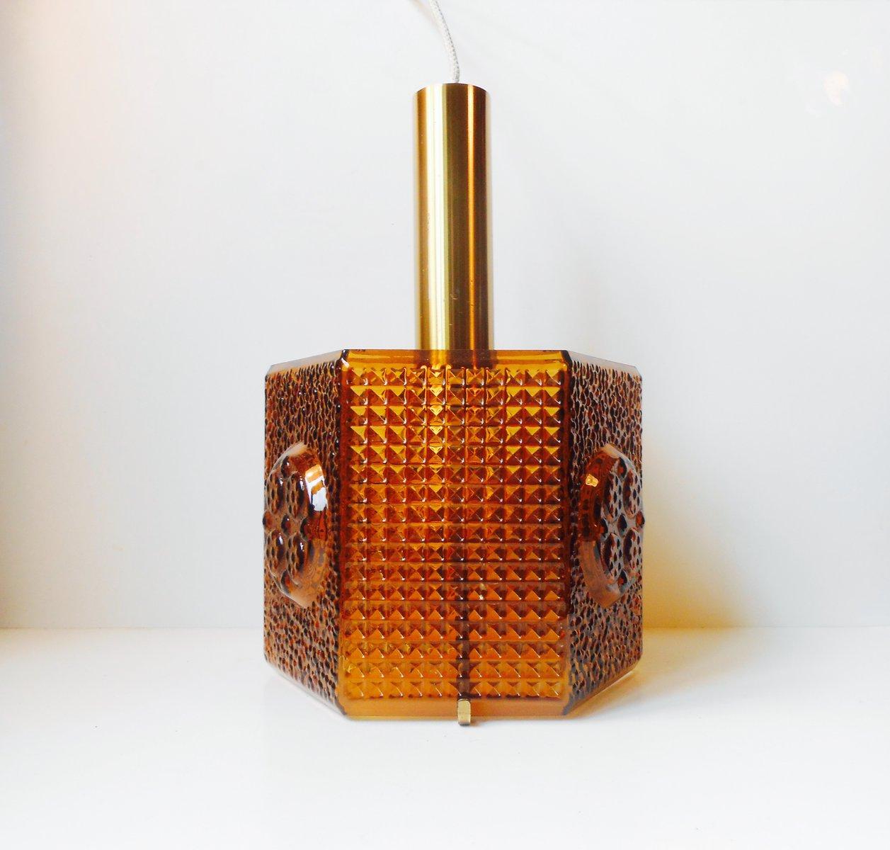 Hexagonale Vintage Hängelampe aus Bernsteinfarbenem Glas von Carl Fage...