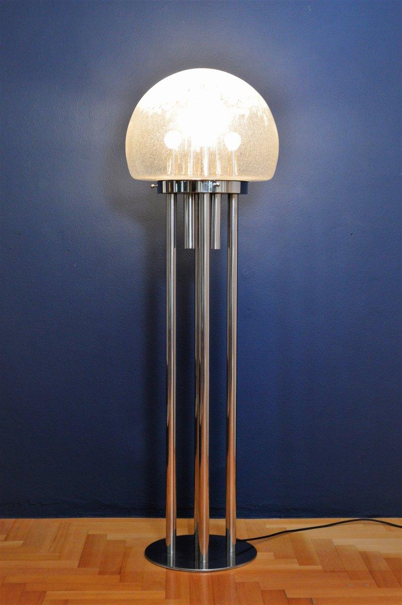 Italienische Verchromte Skulpturale Space Age Murano Glas Stehlampe, 1...