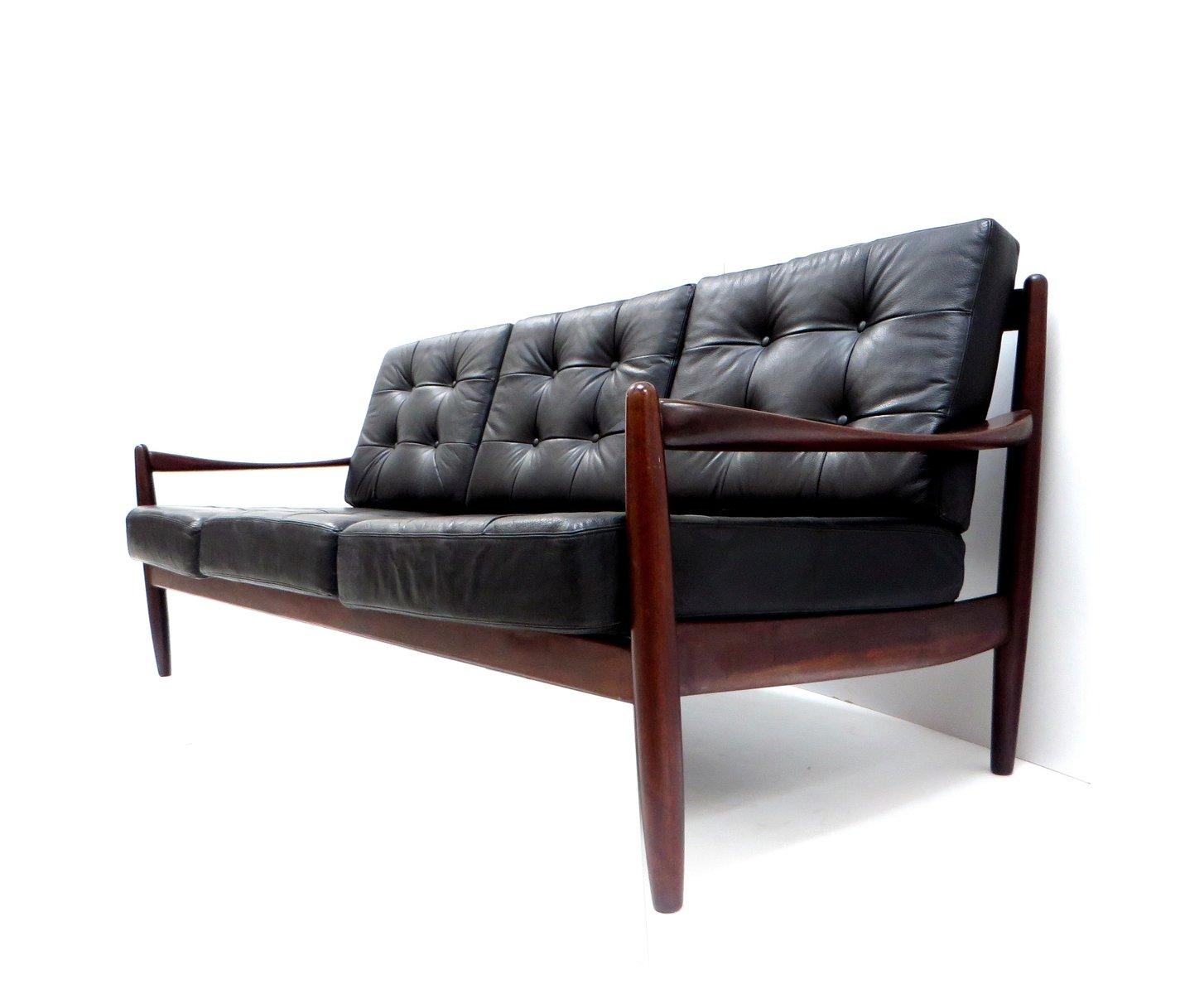 canap 3 places vintage en cuir danemark en vente sur pamono. Black Bedroom Furniture Sets. Home Design Ideas
