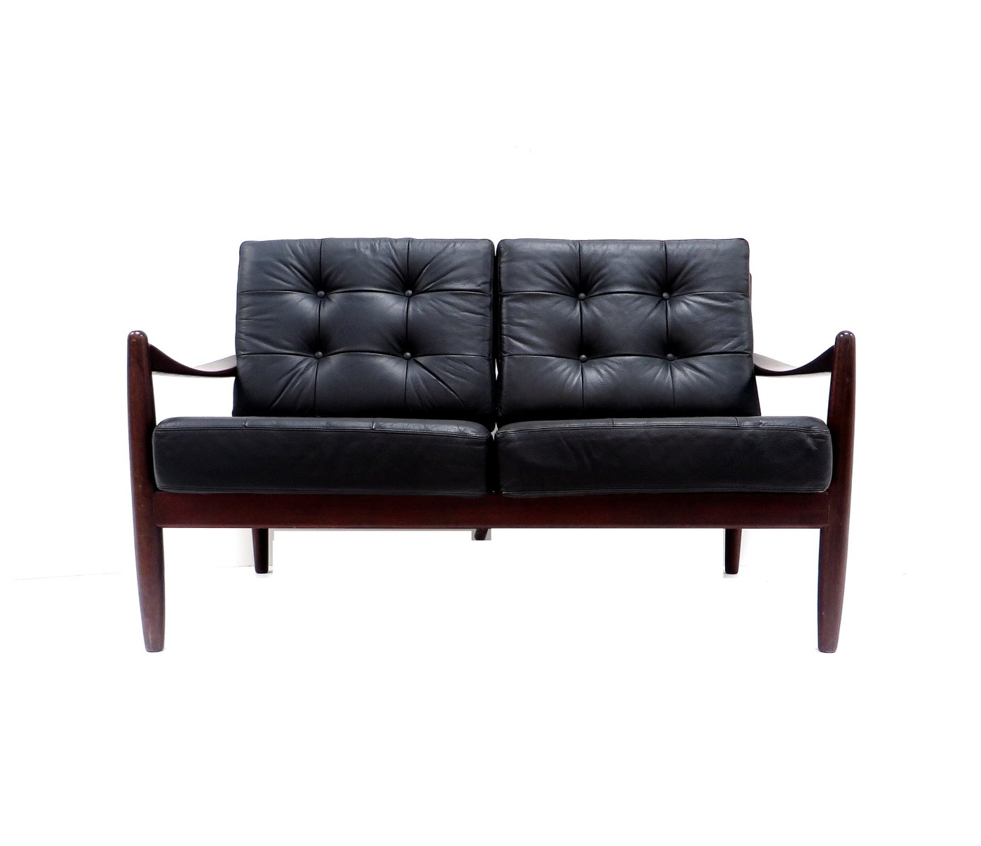 d nisches 2 sitzer ledersofa bei pamono kaufen. Black Bedroom Furniture Sets. Home Design Ideas