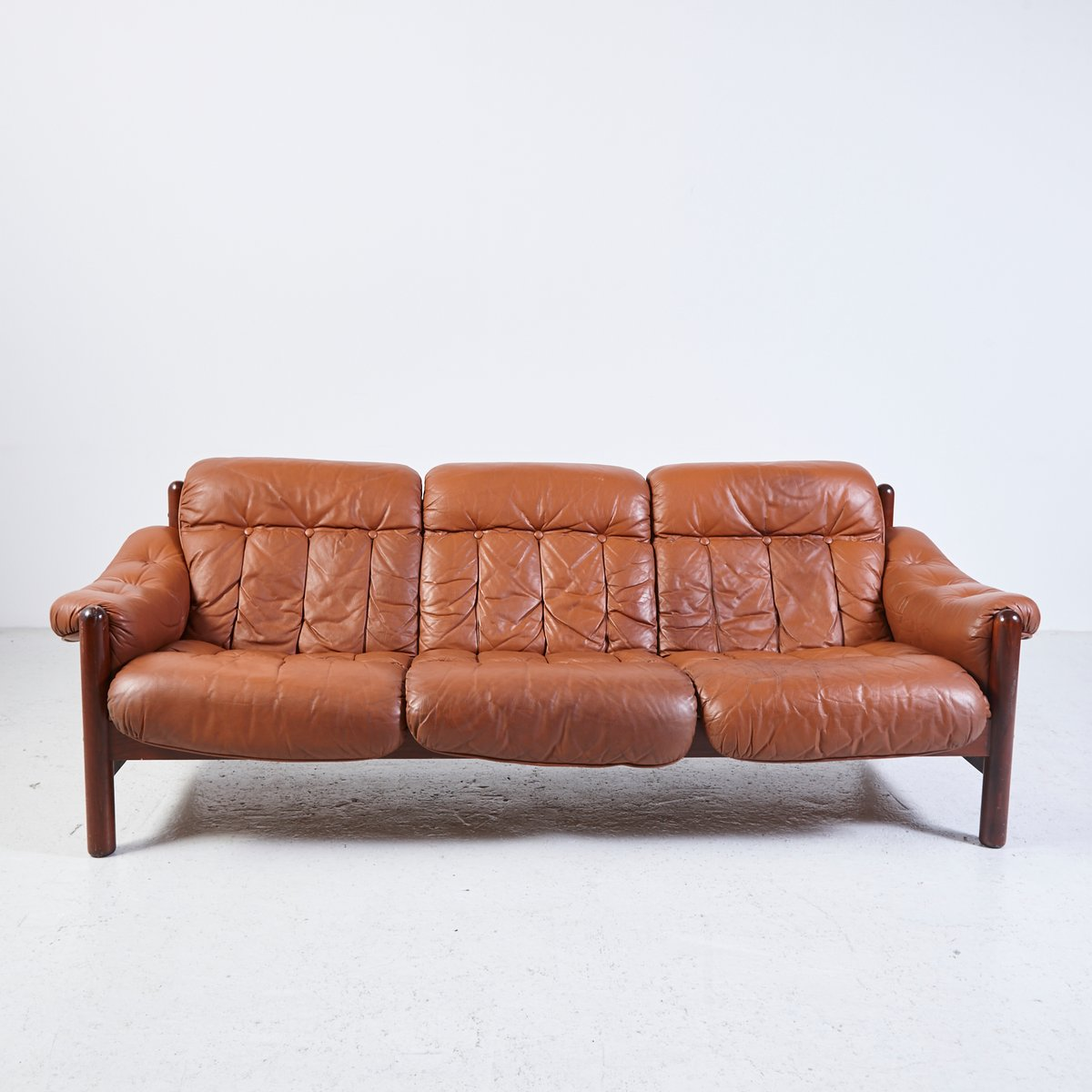 Vintage 3 Seater Leather Sofa With Teak Frame For Sale At