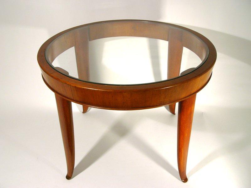 italienischer couchtisch aus holz glas 1940er bei pamono kaufen. Black Bedroom Furniture Sets. Home Design Ideas