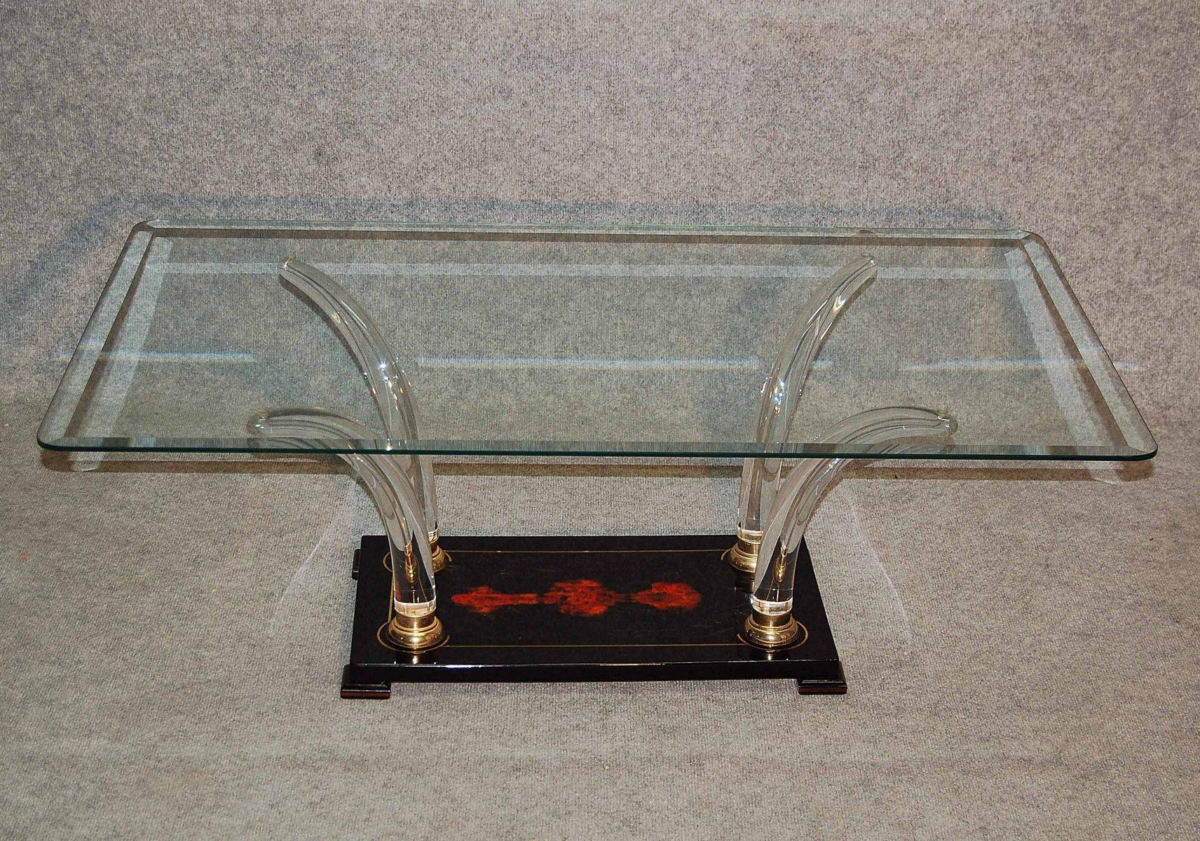 Italienischer Lackierter Couchtisch aus Holz & Glas, 1970er