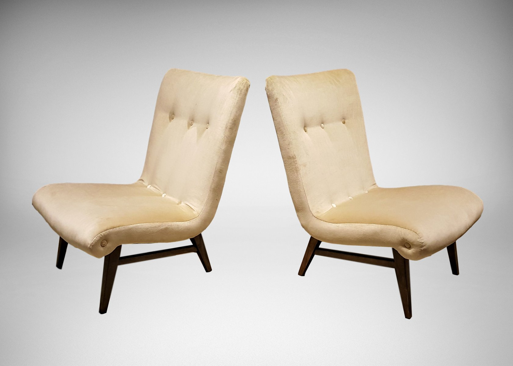cream colored chairs swedish slipper chairs in colored velvet 1950s set 13590 | swedish slipper chairs in cream colored velvet 1950s set of 2 1