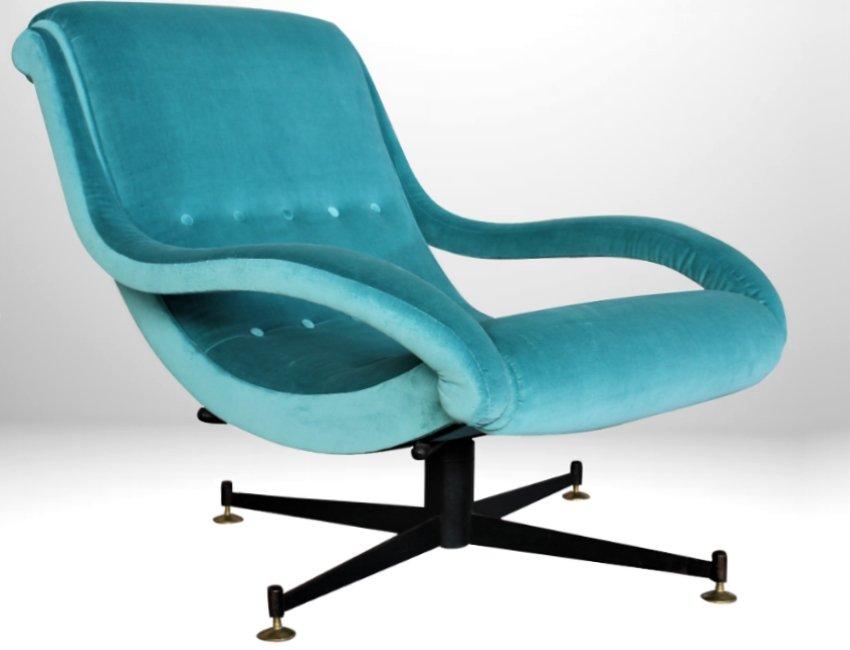Turquoise Mid Century Italian Armchair Onda