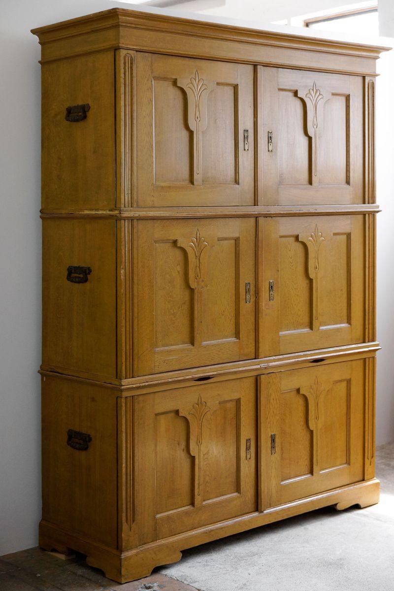meuble de rangement sur trois tages art nouveau au vernis de bi re 1910s en vente sur pamono. Black Bedroom Furniture Sets. Home Design Ideas