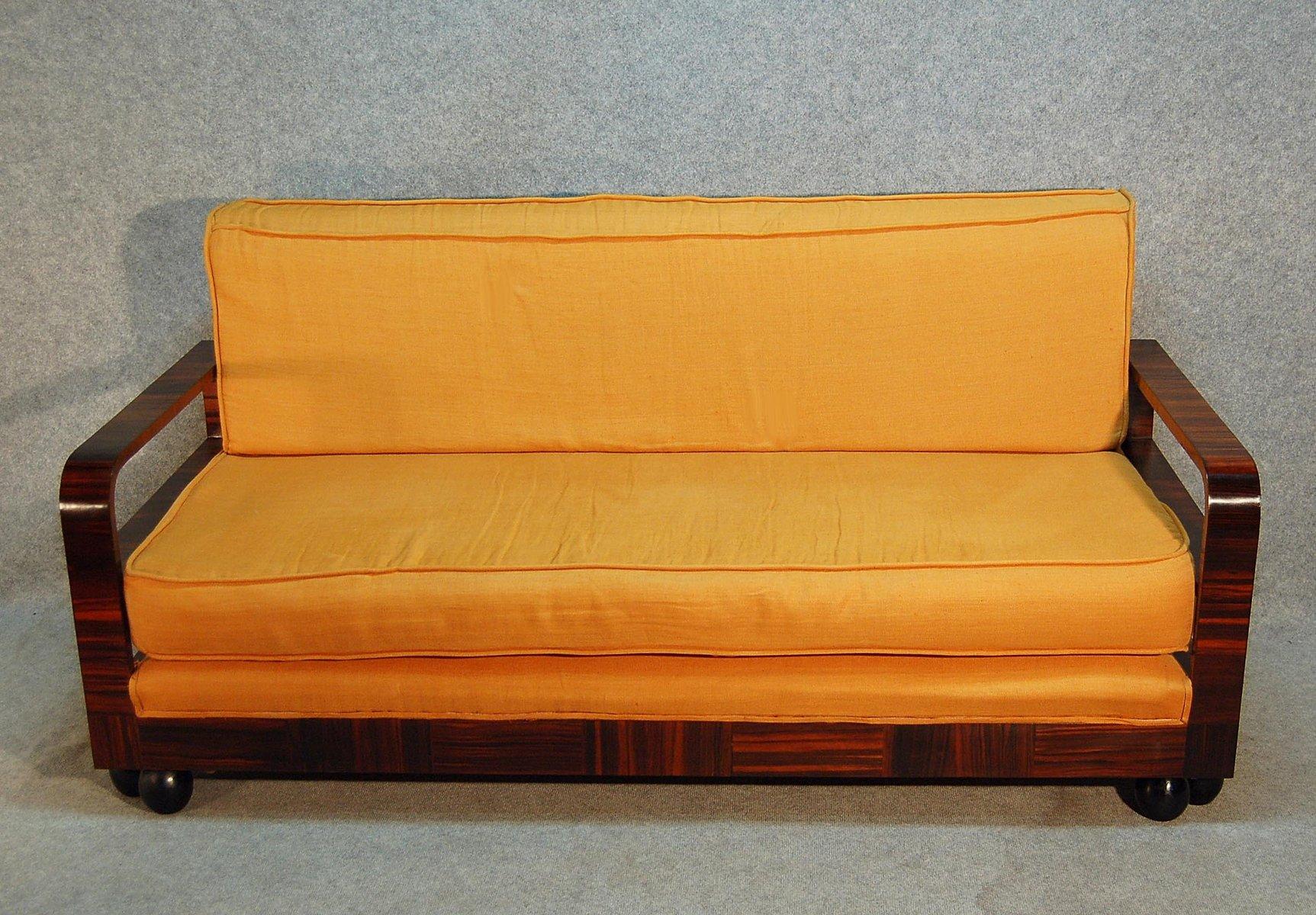 Art Deco Macassar Ebenholz Sofa, 1930er