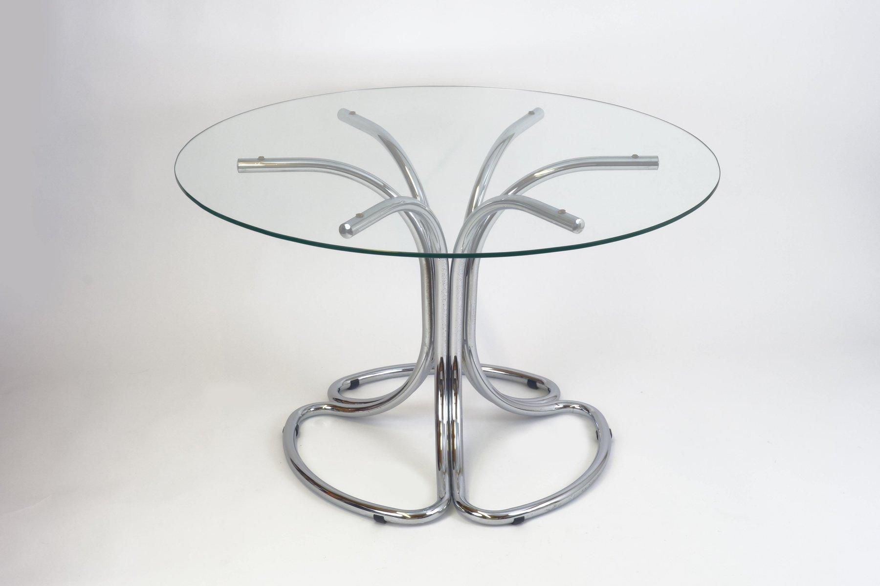 Italienischer Vintage Esstisch mit Runder Glasplatte, 1970er