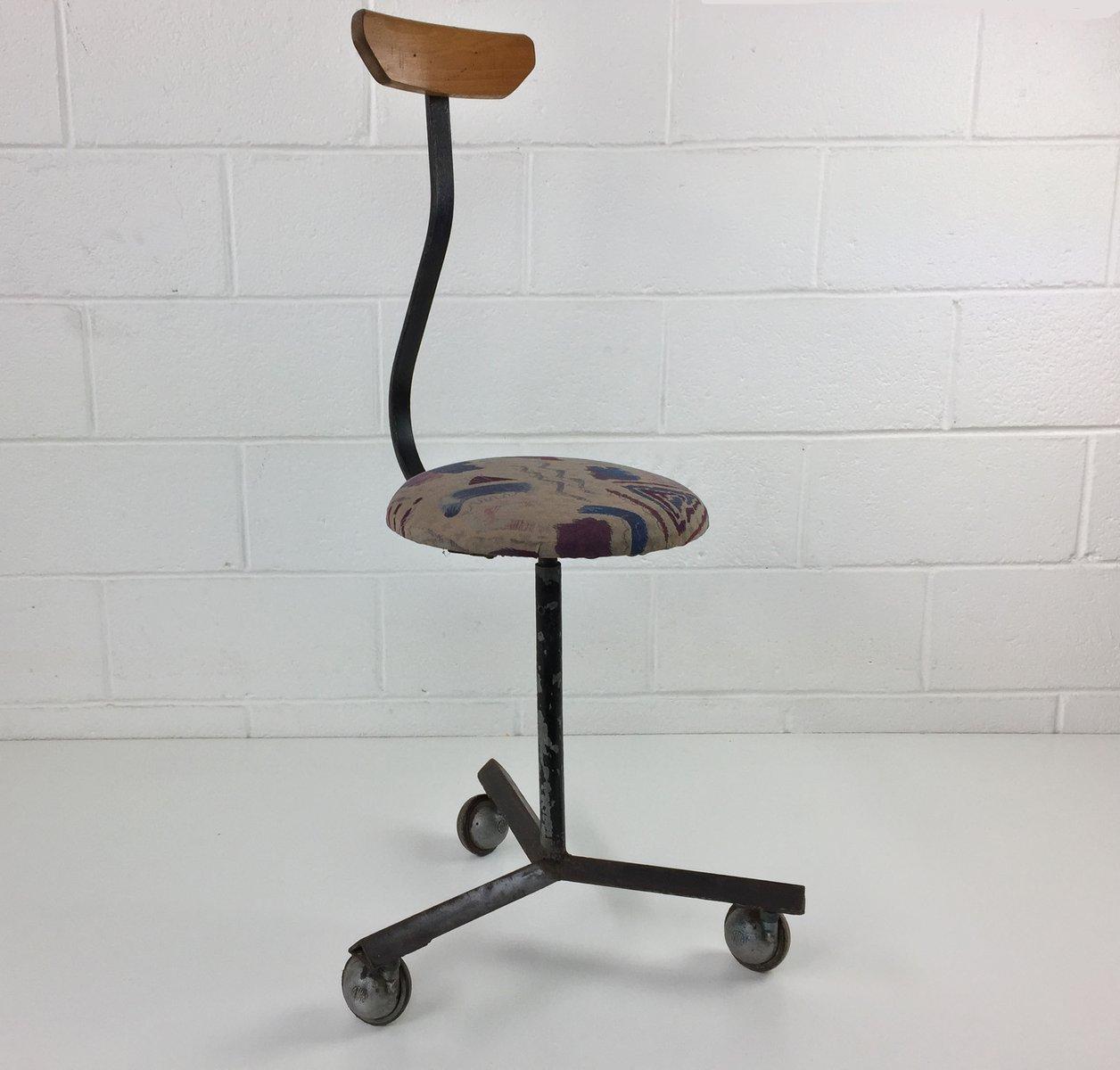 Slovakian Industrial Metal Workshop Sewing Chair, 1960s