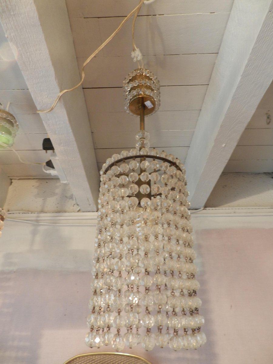 Vintage Deckenlampen mit Acrylperlen, 2er Set