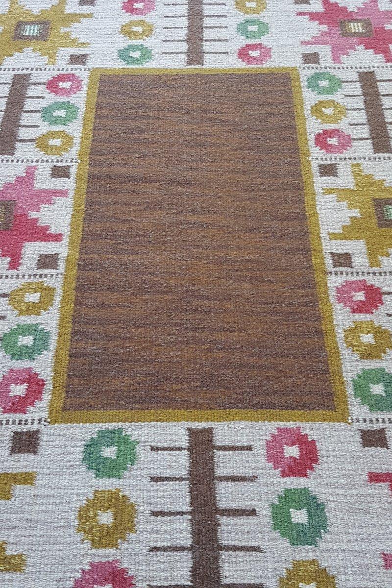 schwedischer brauner vintage r lakan flachgewebe teppich von astrid sampe bei pamono kaufen. Black Bedroom Furniture Sets. Home Design Ideas