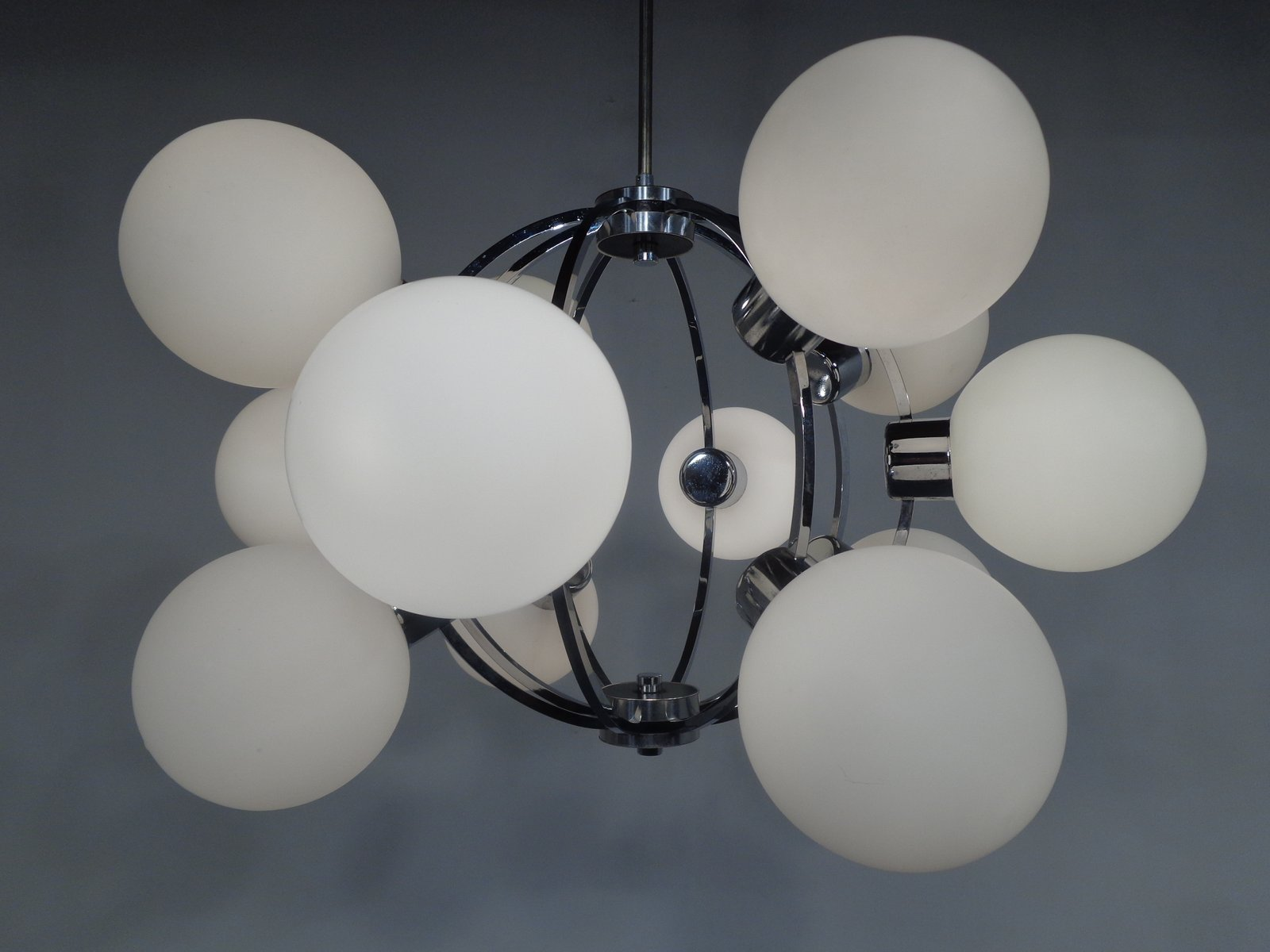 Space Age Sputnik Lamp With 12 Milk Glass Balls For Sale
