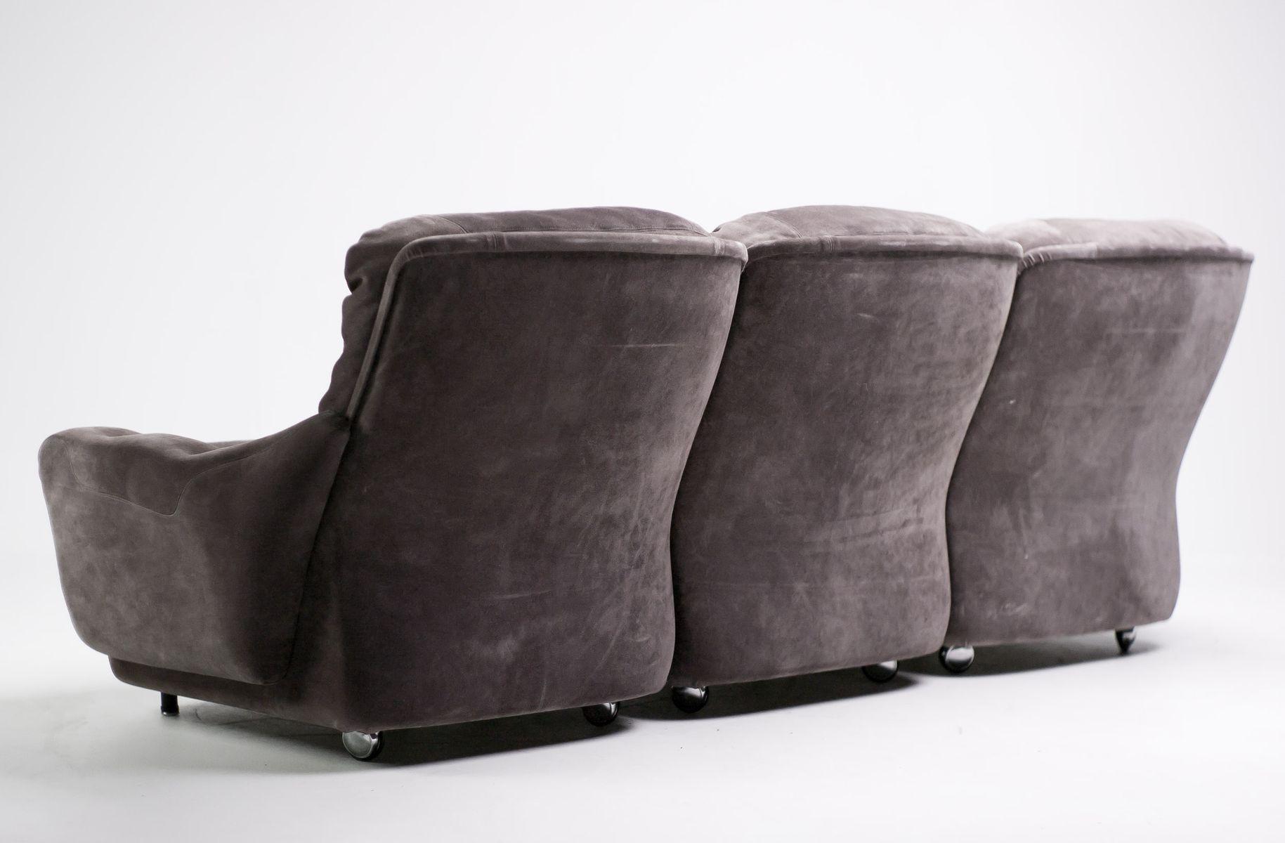 canap s vintage trois places modulaires en daim de airborne set de 2 en vente sur pamono. Black Bedroom Furniture Sets. Home Design Ideas