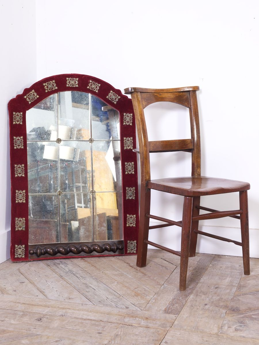 Espejo de pared antiguo de cristal tallado y terciopelo en - Espejos antiguos de pared ...