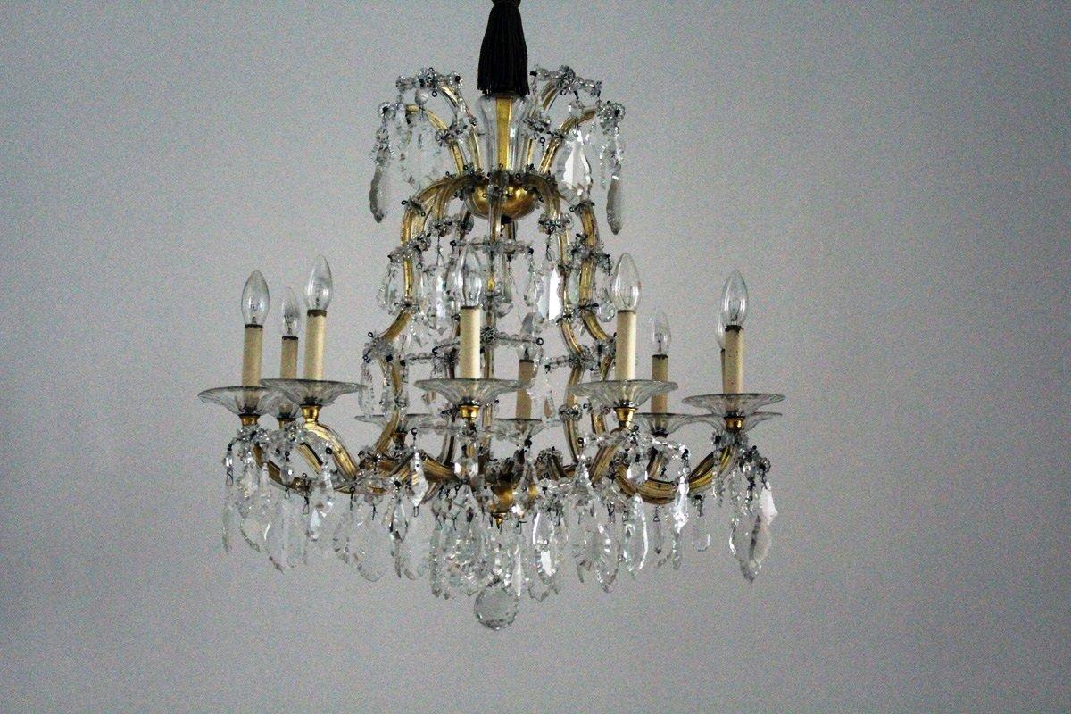 Großer Antiker Wiener Kristallglas Kronleuchter von Lobmeyr