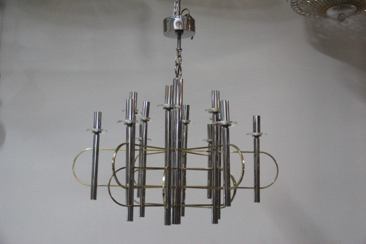 Skulpturaler Kronleuchter aus Metall & Glas von Gaetano Sciolari, 1970...