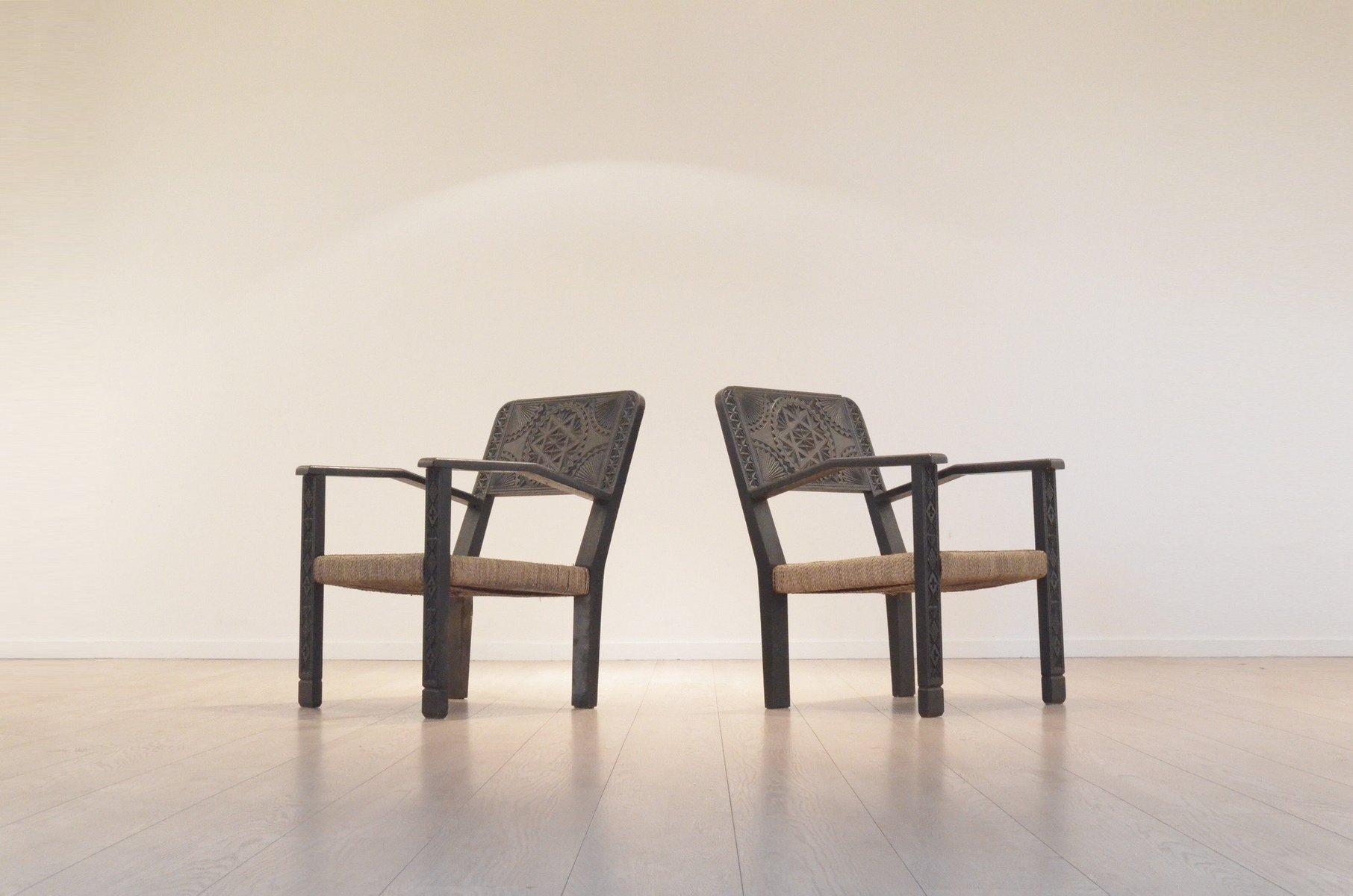 Französische Vintage Sessel aus Geschnitztem & Ebonisiertem Holz & Rat...
