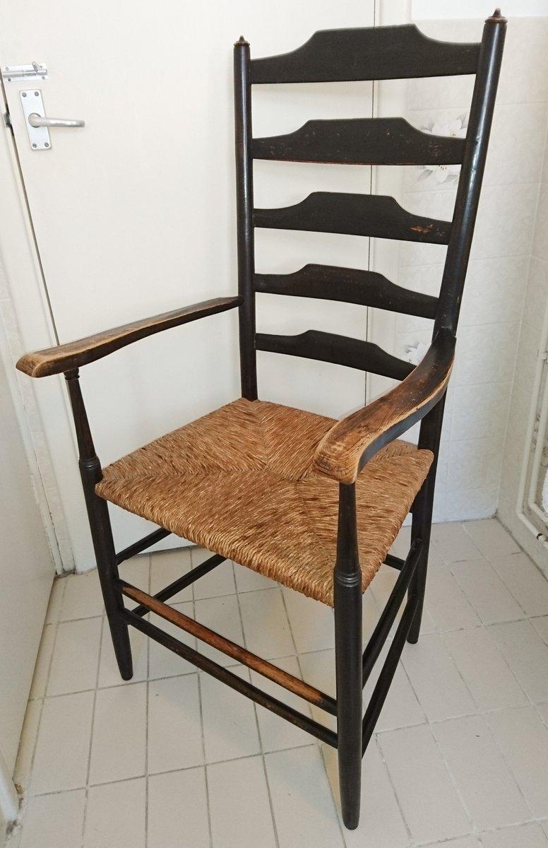 antiker arts and crafts armlehnstuhl mit sprossen r ckenlehne von philip clisset bei pamono kaufen. Black Bedroom Furniture Sets. Home Design Ideas