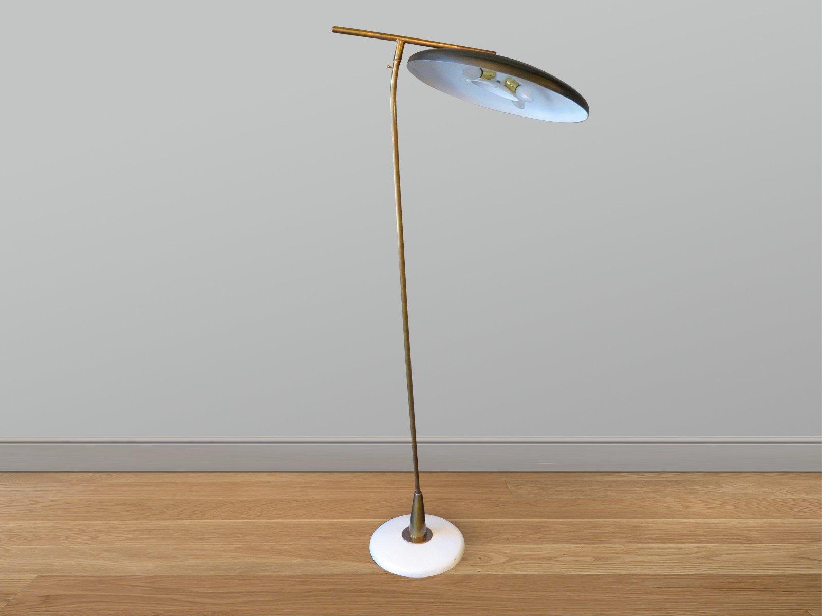 Bezaubernd Stehlampe Mit Schirm Referenz Von Italienische Mid-century Schwarzem Schirm, 1950er