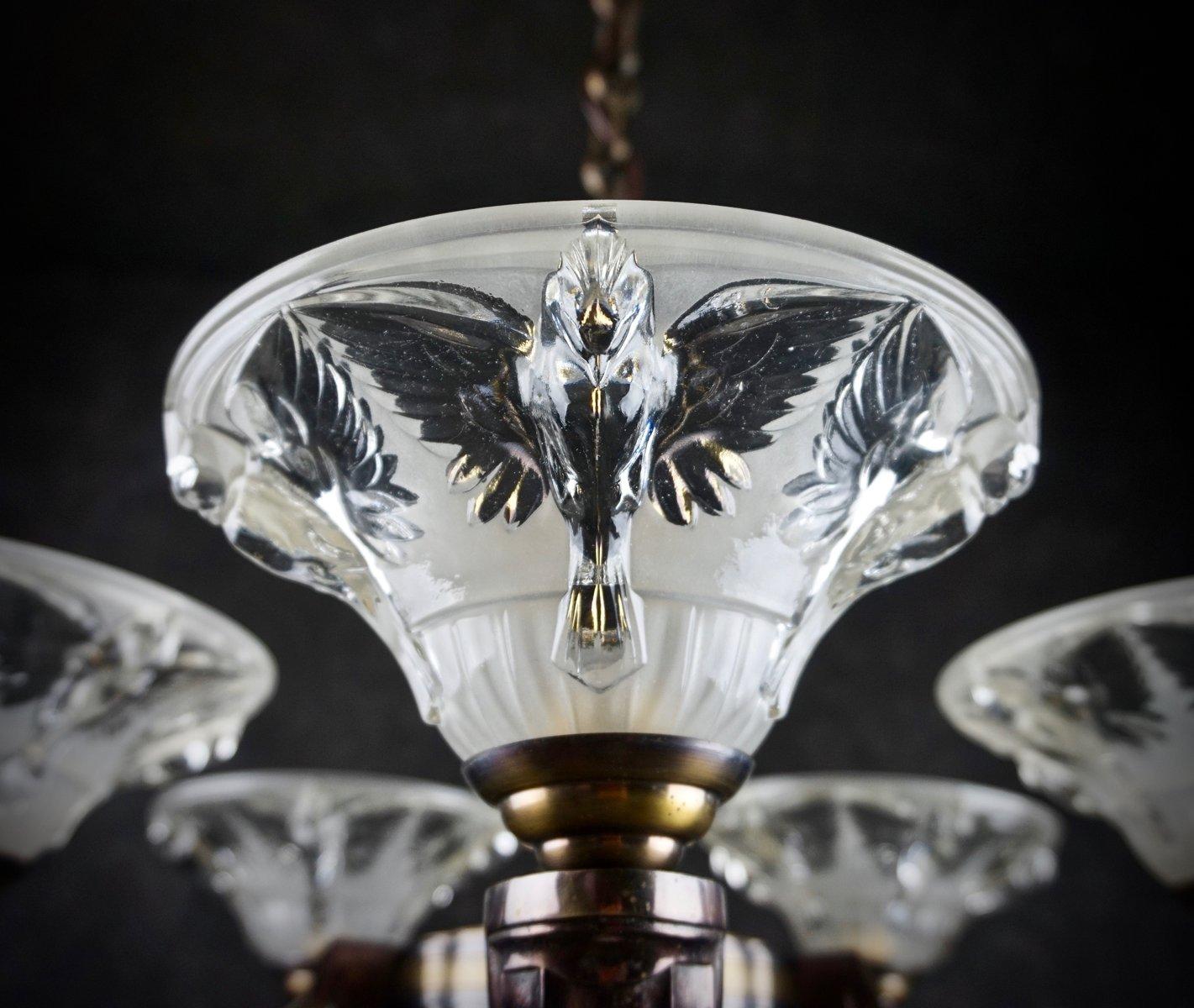 chandelier art d co par boris lacroix france en vente sur pamono. Black Bedroom Furniture Sets. Home Design Ideas