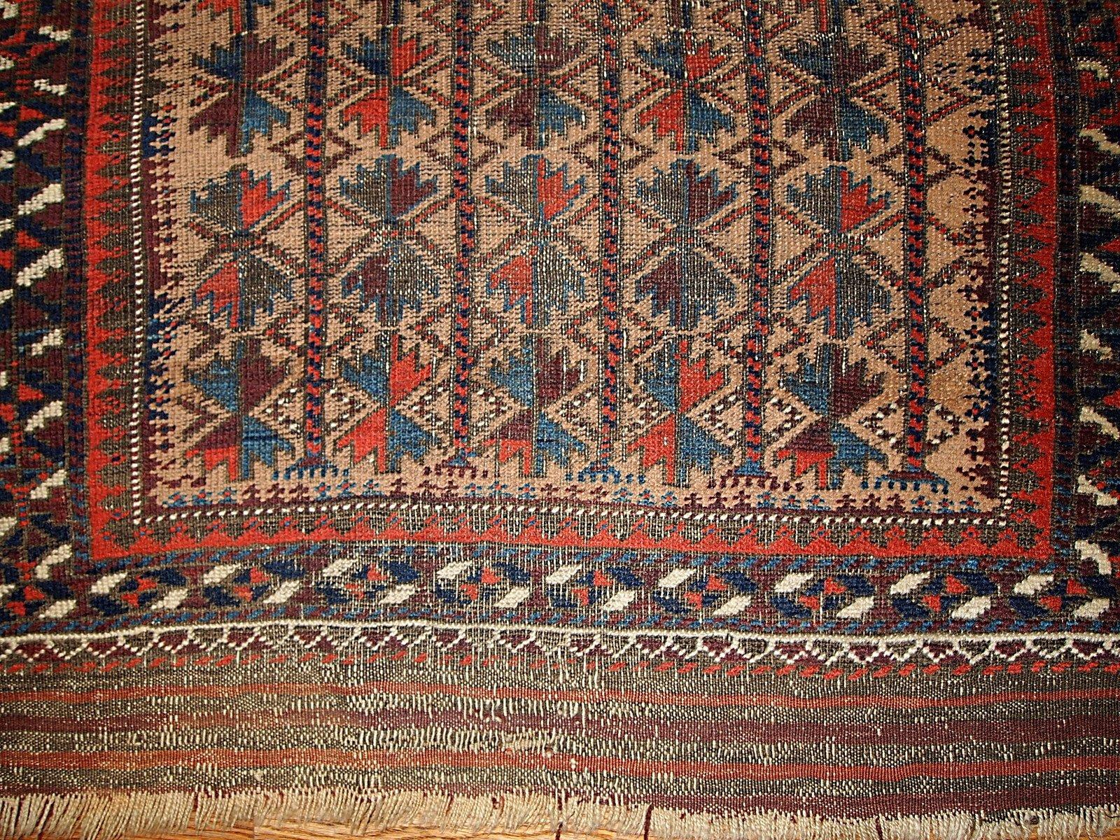 Antique Afghan Baluch Handmade Prayer Rug 1880s