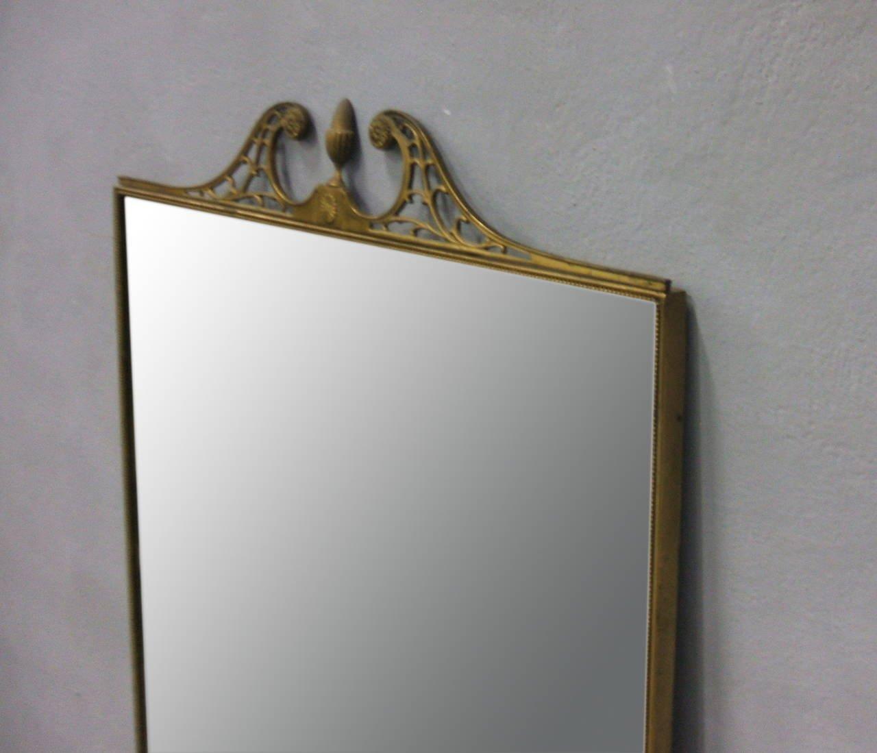 Specchio da parete grande con cornice in ottone, Italia, anni \'50 in ...