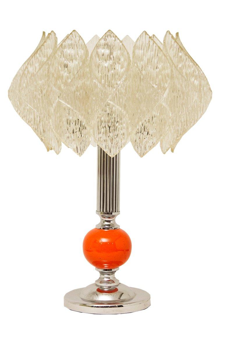 Mid-Century Tischlampe mit Lotus Lampenschirm