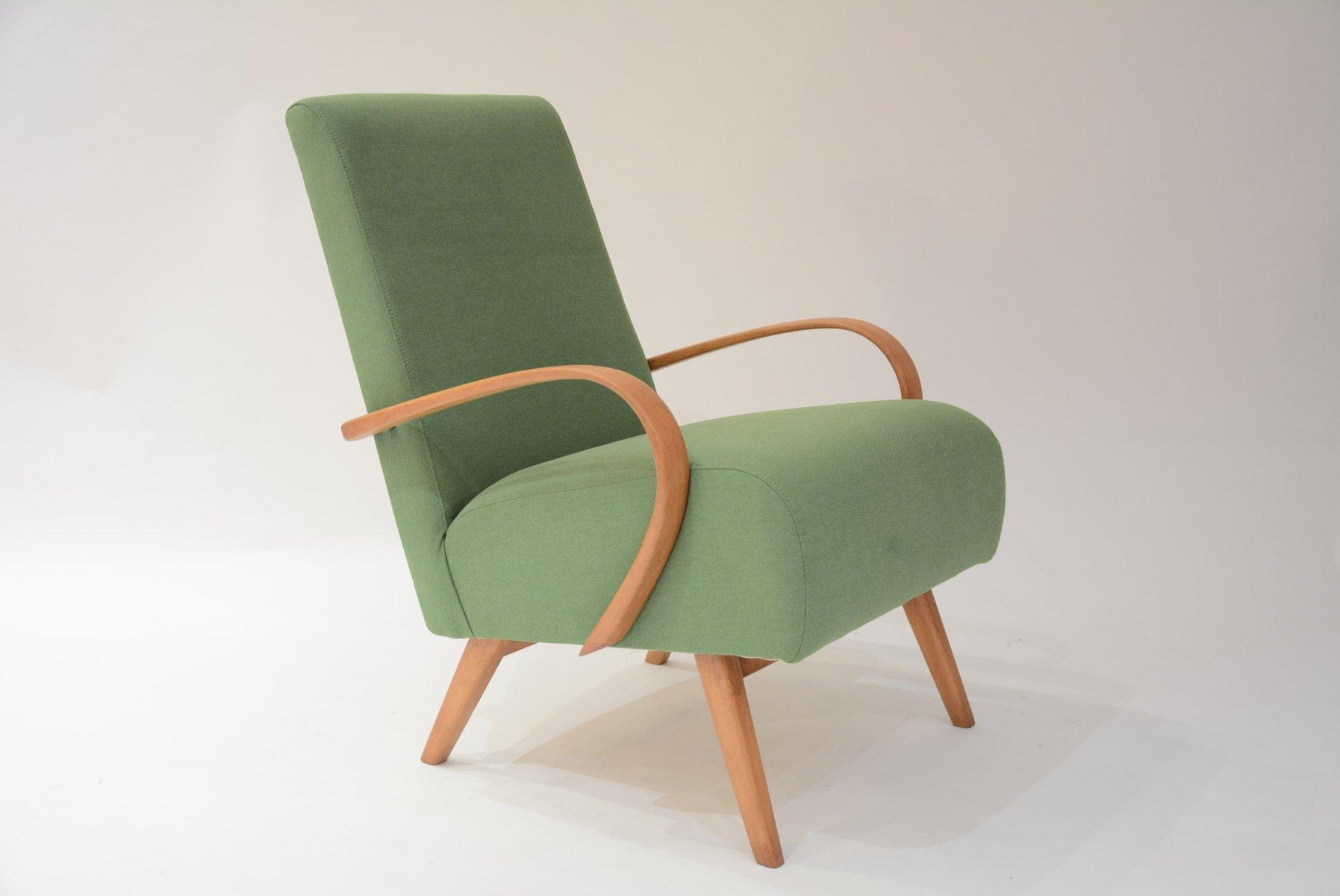 Superieur Mid Century Czech Green Armchair By Jindrich Halabala