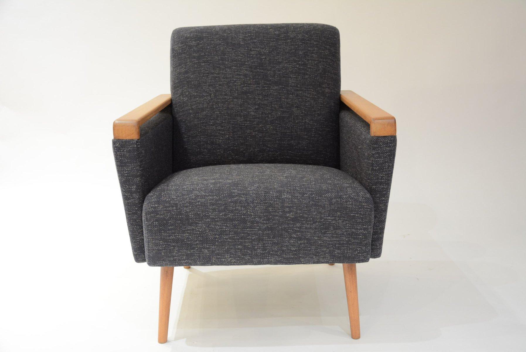 Viereckiger Graphitfarbener Deutscher Sessel, 1960er