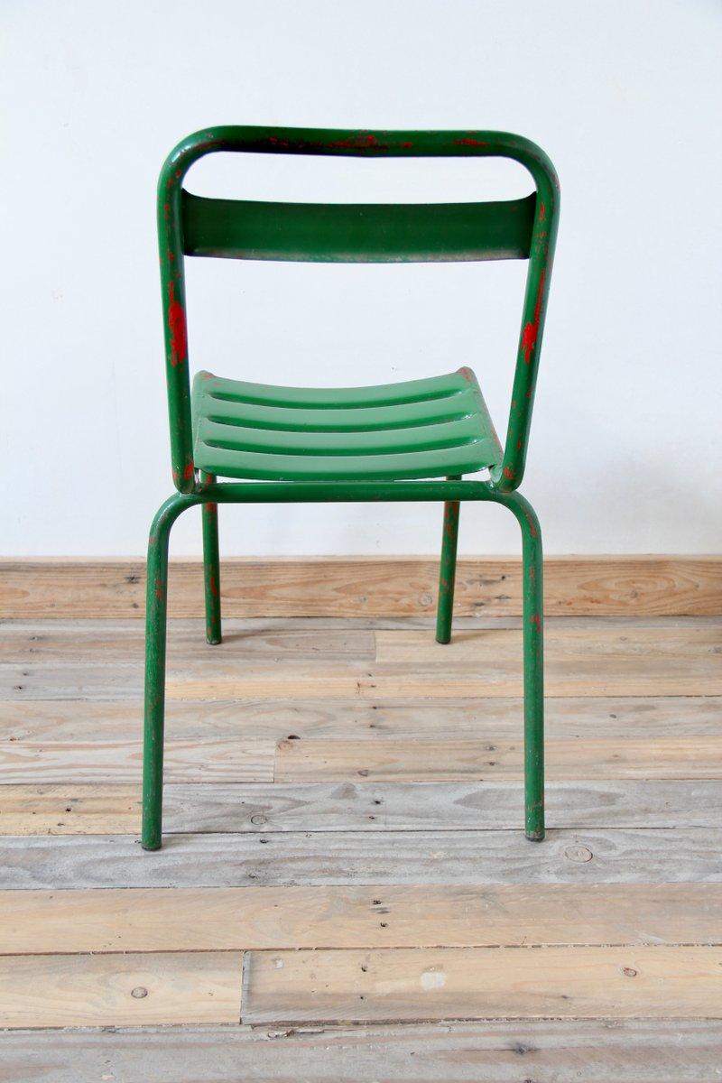 Vintage Green Metal Bistro Chair & Vintage Green Metal Bistro Chair for sale at Pamono
