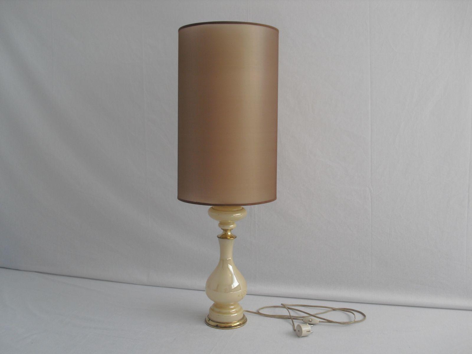 Vintage Glas Tischlampe mit Messing-Verzierungen