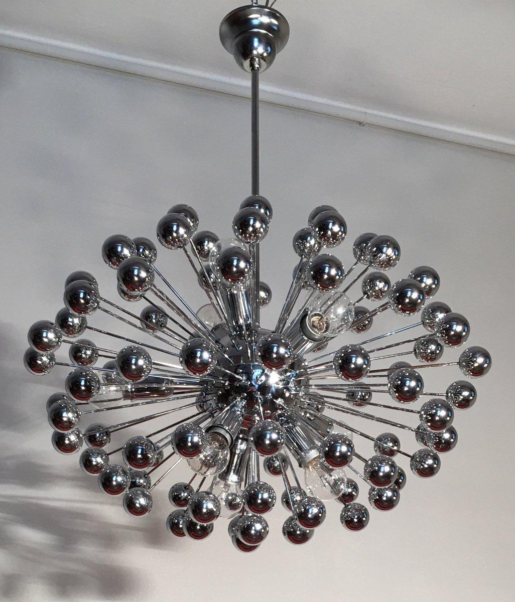 Italienischer Mid-Century Chrom Sputnik Kronleuchter, 1960er