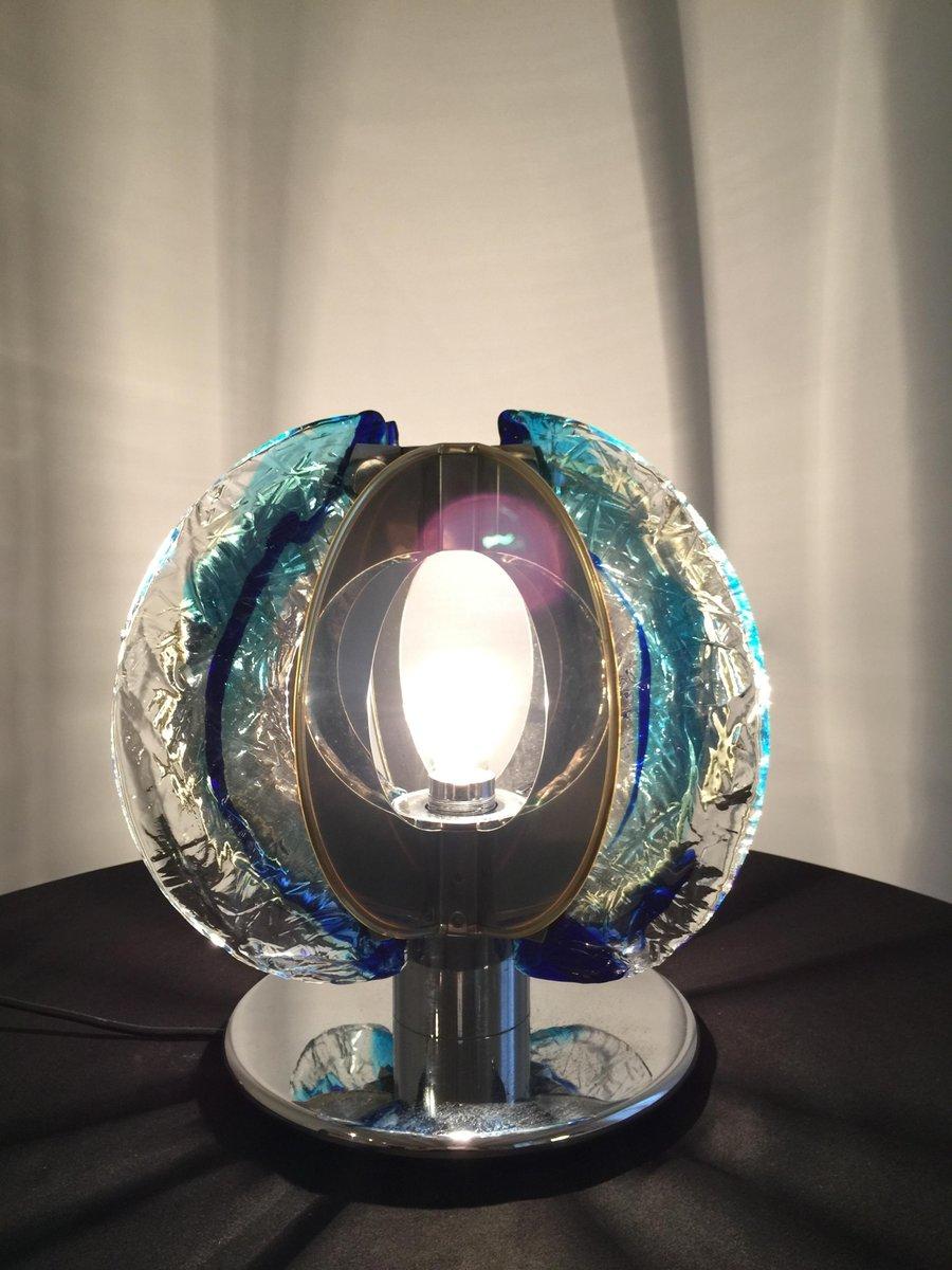 italienische tischlampe aus murano glas verchromtem stahl von angelo brotto f r esperia 1974. Black Bedroom Furniture Sets. Home Design Ideas