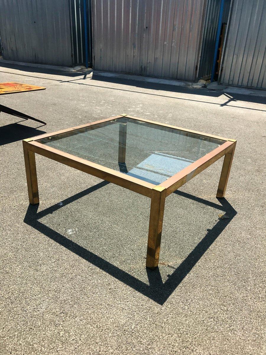 Minimalistischer Mid-Century Messing & Glas Couchtisch