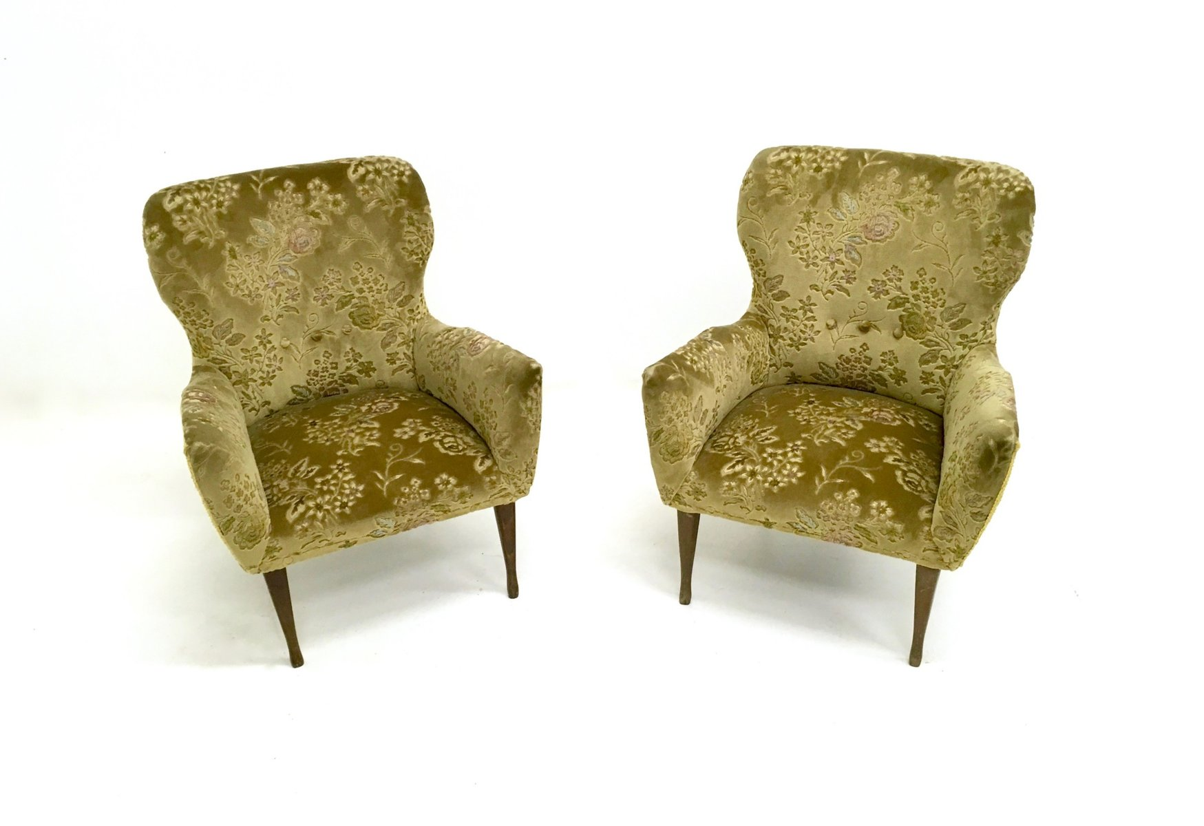 Italienische Grune Vintage Sessel Aus Samt 1950er 2er Set Bei