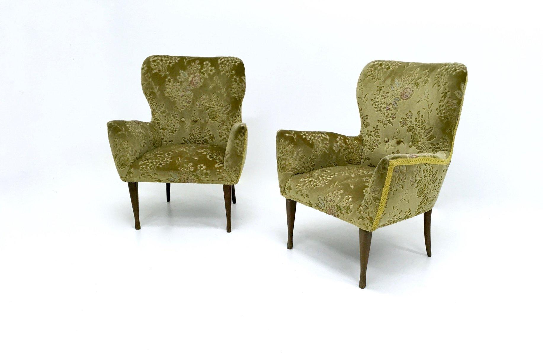 Poltrone vintage in velluto verde italia anni 39 50 set di 2 in vendita su pamono - Poltrone vintage design ...