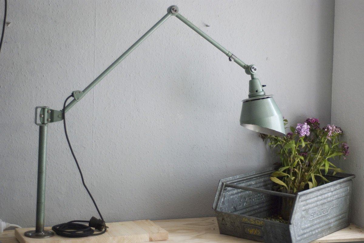 Große Grüne Midgard Tischlampe von Curt Fischer für Industriewerke Aum...