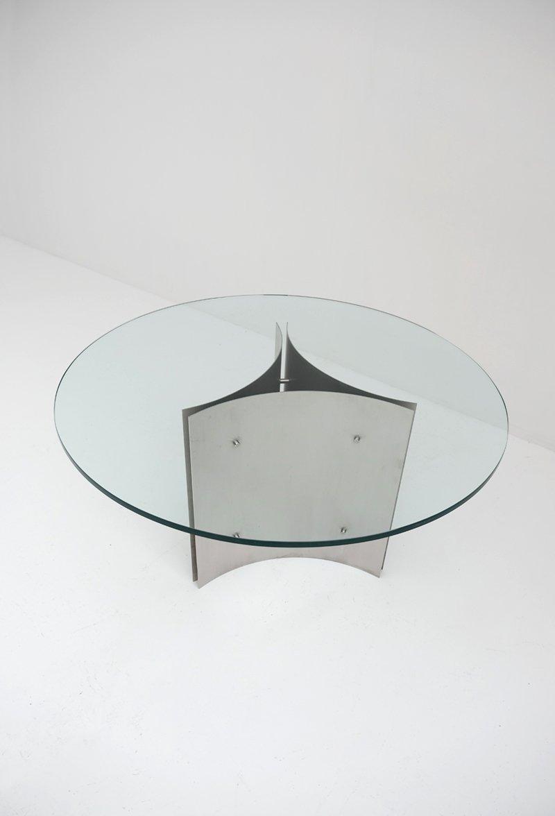 Tavolo da pranzo rotondo in acciaio e vetro anni 39 70 in for Tavolo rotondo da pranzo