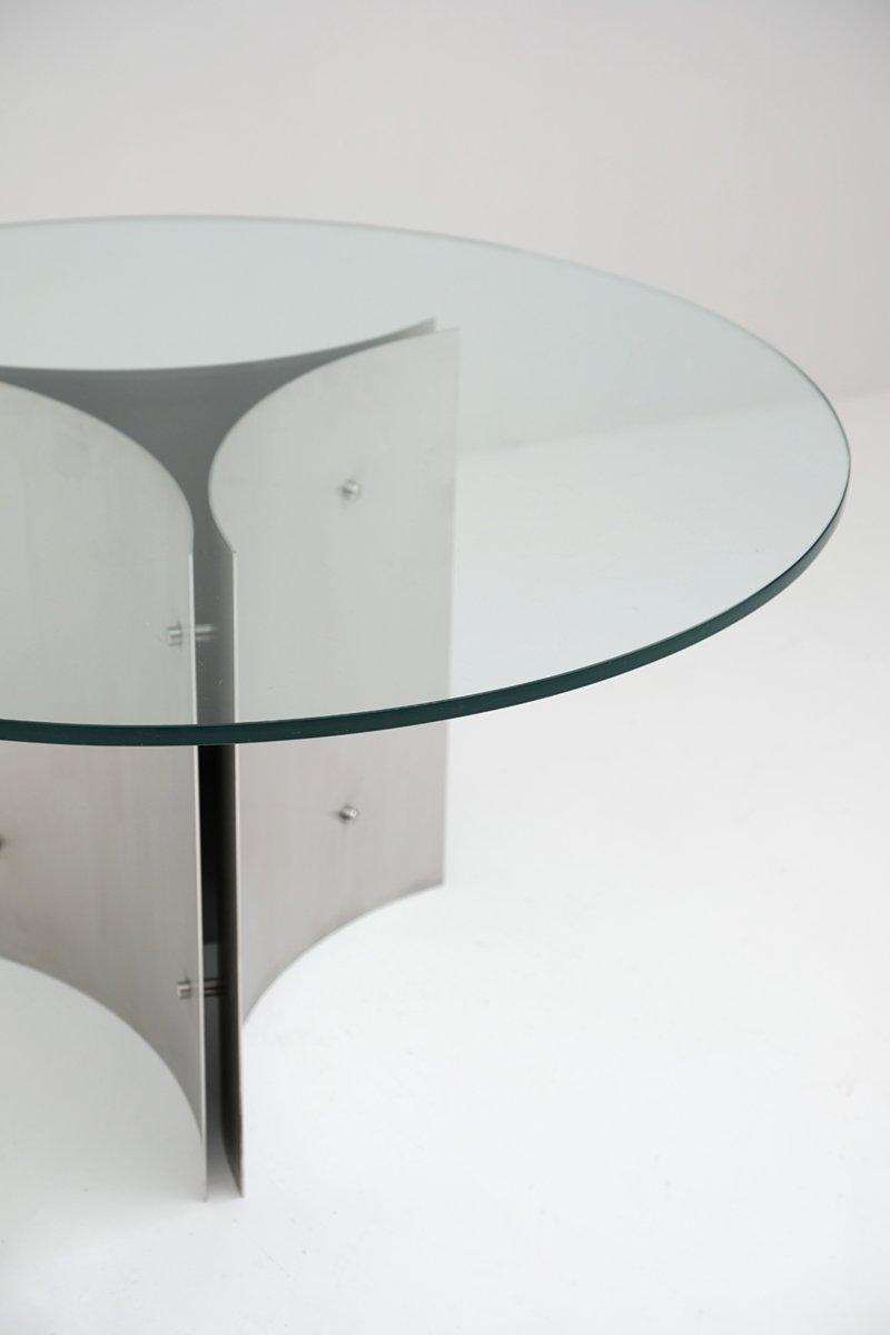 table de salle manger ronde pedestal en acier et verre 1970s en vente sur pamono. Black Bedroom Furniture Sets. Home Design Ideas