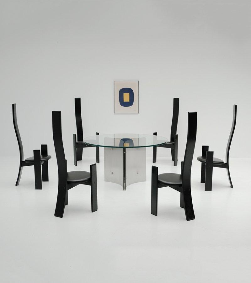 runder esstisch aus stahl glas 1970er bei pamono kaufen. Black Bedroom Furniture Sets. Home Design Ideas