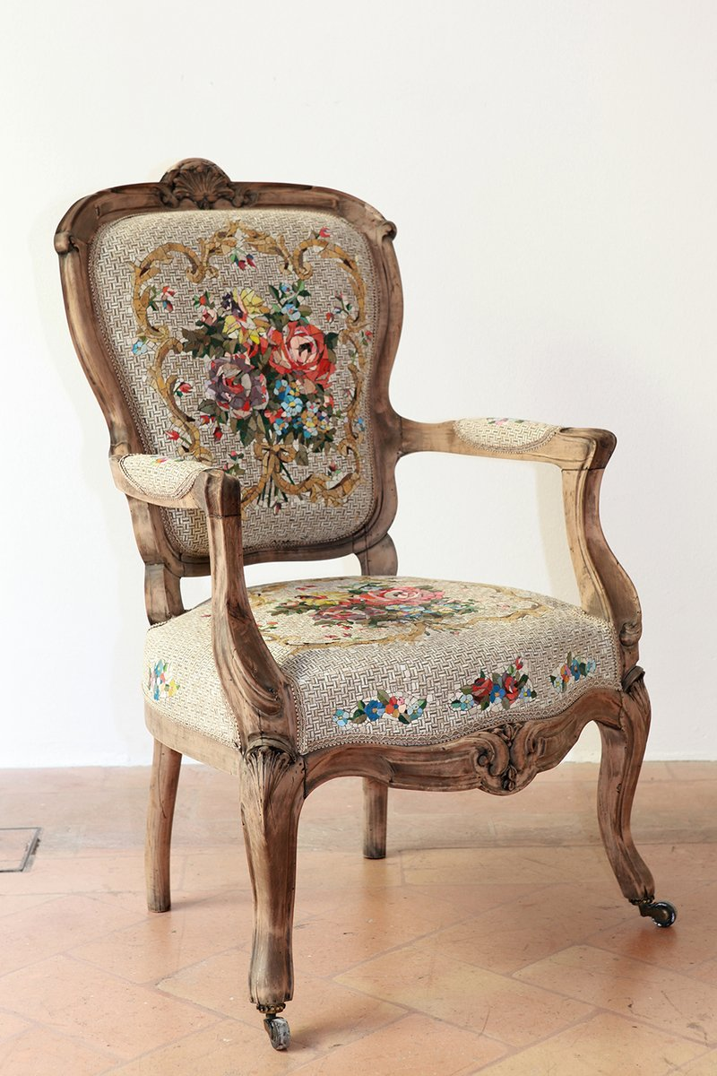 Price per piece - Antique Armchair With Floral Bouquet Mosaic By Yukiko Nagai, 2015